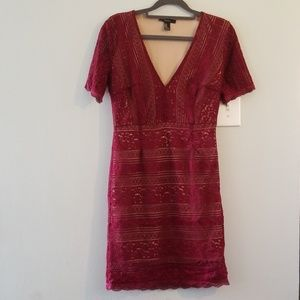 ⭐4for20⭐Forever 21 lace bodycon vneck maroon dress